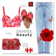 Shimmer Beauty by Nara Puera on Polyvore featuring Michael Kors, Citizens of Humanity, Kurt Geiger, Gucci, Simone Rocha, NYX, Beauty and shimmer, beauty, polyvore, set, outfit, style, fabulous, fashionista, fashion editor, blossom, printed, chic, casual, jeans, crop top, red, sandals, shoulder bag, cosmetic, earrings, narminq, fashion week, Baku, Azerbaijan