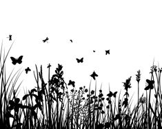 Image Details ISS_3459_00857 - Vector grass silhouettes backgrounds with butterflies Grass Silhouette, Flower Silhouette, Bathroom Paneling, Large Format Printing, Signage, Stock Photos, Black And White, Landscape, Illustration