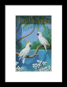 Parrot Perch, South Seas, Cockatoo, Black Wood, Hanging Wire, Moose Art, Original Paintings, Framed Prints, Birds