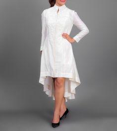 Off White Chanderi Silk Aari Work Short Knee Length Dress