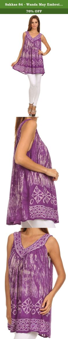 Sakkas 84 - Wanda May Embroidered Batik Scoop Neck Relaxed Fit Sleeveless Blouse - Purple - OS. Features beautiful and unique hand-dyed batik top with marbled pattern and designs. Lightweight and flowy cotton blend sleeveless blouse with added neckline and hem embroidery details. Perfect for summer! Hand wash separately in cold water. Line dry. Imported. | Material: 100% Rayon About Sakkas Store: Sakkas offers trendy designer inspired fashion at deep discounts! We work day and night to…