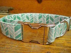 Aqua Herringbone Adjustable Dog Collar with Silver Hardware