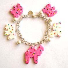 Circus Animal Cookies Bracelet Frosted Animal Cookie Charm Bracelet Animal Crackers Kawaii Pink Rainbow Sprinkles Cookie Pin Up Jewelry