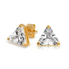 Bling Jewelry Gold Vermeil Basket Set Trillion Cut CZ Unisex Triangle Studs Baby Earrings, Kids Earrings, Gold Earrings, Cubic Zirconia Earrings, Disney Jewelry, Bling Jewelry, Men's Jewelry, Fashion Jewelry, Studs