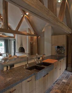 Other idea: Concrete countertop Rustic Kitchen Island, Farmhouse Sink Kitchen, Wooden Kitchen, Kitchen Decor, Interior Exterior, Interior Design Kitchen, Cocinas Kitchen, Small Kitchen Organization, Barn Living