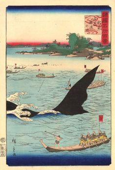 歌川広重(2代目):諸国名所百景/肥前五嶋鯨漁の図