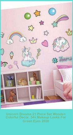 Unicorn dreams 21 piece set kids room nursery wood color decorIt is produced with colored UV printing technology on wood.Vivid colors were selected from high-resolution images.Double-sided tape is applied on the back of each part, it can be easily assembled (also no assembly material required)The wood that will add richness to the decor of your home is metal and harmless paint is applied to health.The product is 3mm wood (simple sticker is not pa makeup looks for green eyes Unicorn Dre