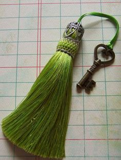 Lime Handmade Tassel with Beaded Cuff by ArtofBeadUK on Etsy, $29.00