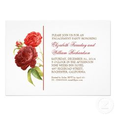 elegant victorian red roses, white bright background engagement party or engagement shower invitations