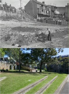 """""""Frog Hollow"""" cnr Albion & Riley Sts, Surry Hills 1950 > [City of Sydney archives > Kevin Sundgren. By Kevin Sundgren] American Civil War, American History, The Rocks Sydney, Gloucester Street, Sydney City, Surry Hills, Historic Architecture, As Time Goes By, Historical Images"""