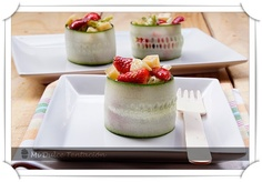 Fruit salad in a cucumber bowl. Yum!