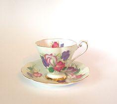 Vintage Teacup and Saucer Set Royal Standard Fine Bone China Tea Cup Light Green Floral 'Fair Lady'  England Afternoon Tea Party
