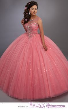 Mary's Quinceanera 4768 Sparkling tulle quinceanera ball gown with beaded illusion scoop neck, beaded bodice, basque waist line, and back with opening and lace-up Sweet 15 Dresses, Pretty Dresses, Pink Sweet 16 Dress, Quince Dresses, Ball Dresses, Pagent Dresses, Chiffon Dresses, Long Dresses, Maskerade Outfit