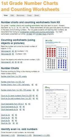 1st grade math number charts