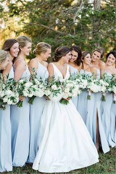 Simple Bridesmaid Dresses, Bridesmaids And Groomsmen, Wedding Bridesmaids, Light Blue Bridesmaids, Groomsmen Wedding Photos, Bridesmaid Gowns, Bridesmaid Bouquet, Bridal Bouquets, Princess Wedding Dresses