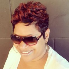 love the color and style! It's a Code Red Alert at Like The River Salon Atlanta! Short Hair Dos, Cute Hairstyles For Short Hair, Permed Hairstyles, Pretty Hairstyles, Curly Hair Styles, Natural Hair Styles, Sassy Hair, Hair Affair, Relaxed Hair