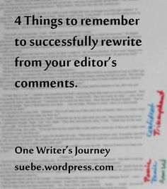 Not all rewrites are created equal.  I've had a few that were relatively pain-free.  In one instance, the editor needed a few more examples.  In another, I had to rewrite 6 sidebars because I had m...