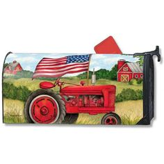 Purchase Magnet Works Patriotic Tractor Original Magnetic Mailbox Wrap Cover from WhinyCat on OpenSky. Rural Mailbox, Large Mailbox, Red Tractor, Tractors, Magnetic Mailbox Covers, Truck Covers, Yard Design, Patriotic Decorations, American Flag