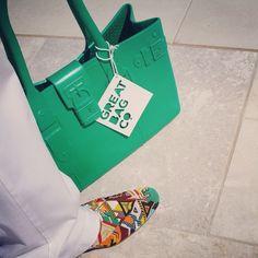 @RobertVerdi's fabulous Trussardi beaded oxfords next to the fabulous Model M. Emerald. #greatbag -- www.greatbag.co #GreatBagCo #Emerald #Green