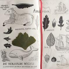Sketch book #autumn #scheepvaartmuseum #amsterdam #inkt #ink #ginkgo #biloba #sketchbook #schetsboek #illustratie #illustration #wail #walvis #schaap #woodensculpture #shipornament www.anjamulder.com