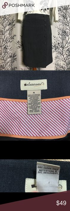 """Elevenses Gray Button Pencil Skirt Anthropologie Anthropologie's Elevenses Gray pencil skirt with fabric covered buttons, fully-lined underneath, zip closure, two back pleats, NWOT. Size 4. Measurements lying flat:  Waist 14.5"""" across Hip 18"""" across Length 23.25"""" Add the Elevenses button pencil skirt today! Anthropologie Skirts Pencil"""