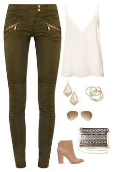 """""""Untitled #1707"""" by netteskytte on Polyvore featuring Anine Bing, Balmain, Lucky Brand, Kendra Scott, ABS by Allen Schwartz, Charlotte Russe and Ray-Ban"""