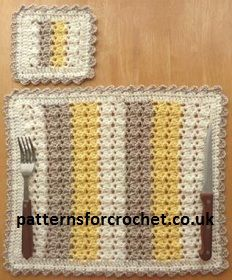 Free Three Colour Placemat & Coaster Crochet Pattern from  http://www.patternsforcrochet.co.uk/placemat-coaster-usa.html USA and UK terms. #freecrochetpatterns #patternsforcrochet