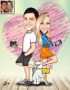 Caricaturas digitais, desenhos animados, ilustração, caricatura realista: Desenho casal com mascote !!