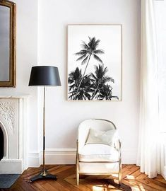 Palm Trees PRINT, Palm Photography, Palm Tree Wall Art, Scandinavian Print, Modern Minimalist, Black & White, Tree Print, Tropical Art
