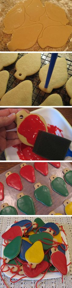 Christmas Light Bulb Cookies - Roll and cut out dough, create licorice hole with straw, ice with a foam brush , dry overnight on wax paper, string with licorice and ENJOY