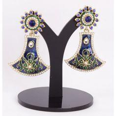 Enamel Gold Plated Antique Kundan Ear Danglers