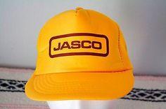 Vintage-Jasco-Trucker-Hat-Mesh-Back-Yellow-Snapback-Woodworking