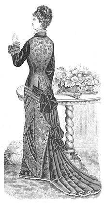 "Every year the skirts become narrower and the bodices longer.  By 1879, the fan skirt was the mode.  The back of the skirt is confined to just about knee height, and then allowed to flow out in a full, fan-shaped train.  Petticoats, and even hoops, were required to hold the ""fan"" in a good shape."