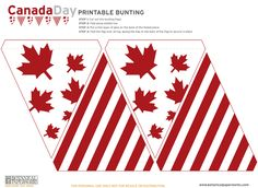 "Who doesn't love flag bunting? I know they put a smile on my face. In honor of tomorrow which is ""Victoria Day// Canada"" I thought it would be great to share this awesome flag bunting printable from Botanical Read More → Canada Day 150, Happy Canada Day, Printable Banner, Free Printables, Canada Day Crafts, Canada Day Party, Canada Holiday, Canada Christmas, Bunting Banner"