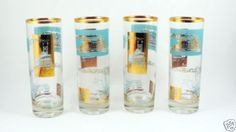 4-Steamboat-Highball-Glasses-Libbey-Southern-Comfort-Gold-Turquoise-Retro-Bar