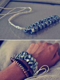 How to make an edgy hex bracelet! Start with cutting three pieces of twine, each 1 yard long.  Make a knot at the top and braid about an inch down.  Before braiding the far left strand over the middle stand, thread on a nut. Cross the left stand over the middle, and before crossing the right stand, thread a nut on that side!'  Continue this process of thread, cross, thread, cross.  When you finish threading all 18 hex nuts, tie a small knot, then begin to braid as far down as you'd like.
