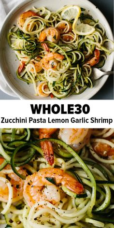 Diet Recipes Zucchini noodles pasta with lemon garlic shrimp is a delicious, gluten-free, paleo version of shrimp scampi and linguini. Traditional pasta is replaced with zucchini noodles or zucchini pasta for a lighter, healthier, paleo recipe. Zoodle Recipes, Seafood Recipes, Diet Recipes, Healthy Recipes, Recipes Dinner, Gluten Free Recipes For Lunch, Healthy Options, Healthy Foods, Whole30 Shrimp Recipes