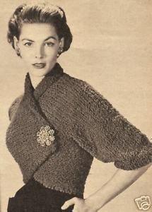 Vintage Knitting PATTERN to make Angle Shrug Bolero Shortie Jacket Nubby AngleSh