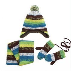bdcdfc82d1eab Winter Children Hat Scarf Mittens 3-piece set Fashion Stripes Knit Baby Boys  Girls Kids