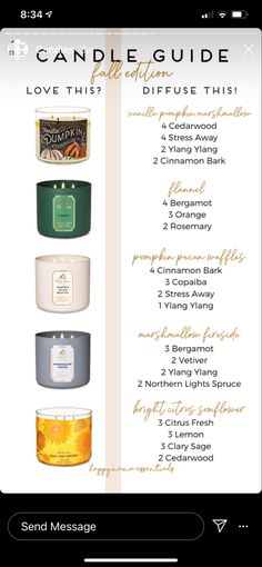 Fall candle essential oil dupes Essential Oil Candles, Essential Oil Scents, Essential Oil Diffuser Blends, Essential Oil Combinations, Diy Candles Scented, Essential Oils Guide, Diffuser Recipes, Osho, Diys