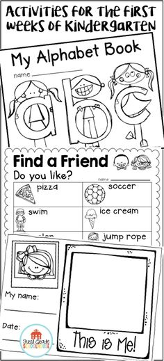 Ideas and resources for the first weeks of kindergarten. It includes first day of school resources, alphabet and numbers books, interactive activities and more! It has getting to know friends, the school, the teacher, and About Me activities, along with a craft for a bulletin board display that's perfect for back to school night.