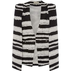 TOPSHOP **Black and White Stripe Cape by Lavish Alice (€82) ❤ liked on Polyvore featuring outerwear, black, cape coat, black cape, topshop, black cape coat and black and white cape