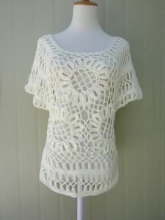 White Crochet Sunflower Blouse Top Short Sleeve by TinaCrochet2016