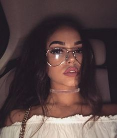 Clear aviator glasses. Stay in style with these gold thin frame large clear aviator style non-prescription glasses. Also featuring our pink blush velvet choker necklace
