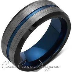 8mm,Brushed Gun Metal,Gray and Black,Blue Tungsten Ring,Mens Wedding B