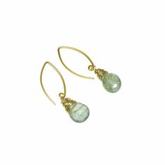 Gold Wrapped Moss Aqua Drops on 18K Vermeil Ear Hooks (DE398LK) $120 - Unique Jewellery and Gemstones :: Skanda :: Victoria