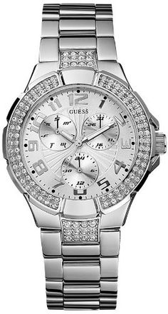 GUESS Women's Status-In-The-Round Crystal Silver-Tone Sport Watch Quartz movement Silver-tone case with crystals Polished stainless steel bracelet Analog, Day, Date, 24 Hour Intl Time Functions Water-resistant to 100 M feet) Fossil Watches, Rolex Watches, Sport Watches, Watches For Men, Guess Watches, Ladies Watches, Wrist Watches, Stainless Steel Bracelet, Michael Kors Watch