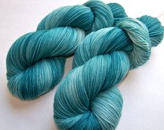 Hand Painted Ultra Merino Superwash Sock Fingering Yarn -- No Sand Just Sea Glass on Etsy, $22.95