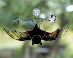 Vampire bat stained glass suncatcher Horror decor Custom stained glass window hangings gift for Hall