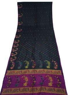 Beautiful Indian Vintage Art Silk Sari Printed work Women Sarong Drape Decorative Fabric Antique Art Craft SarI 5Yard-ASS679